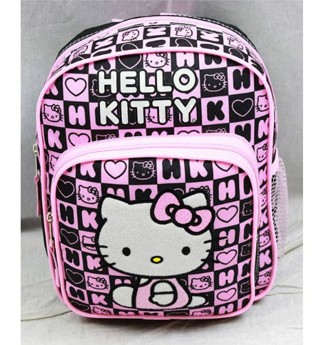 Mini Backpack Hello Kitty Black Box Checker New School Bag 82360 by FAB Starpoint