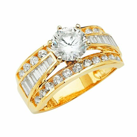 Solid 14k Yellow Gold 6 Prong CZ Cubic Zirconia Round Cut Wedding Engagement Ring With Baquette Setting (1.25 ct.) 6 Prong Round Ring Setting