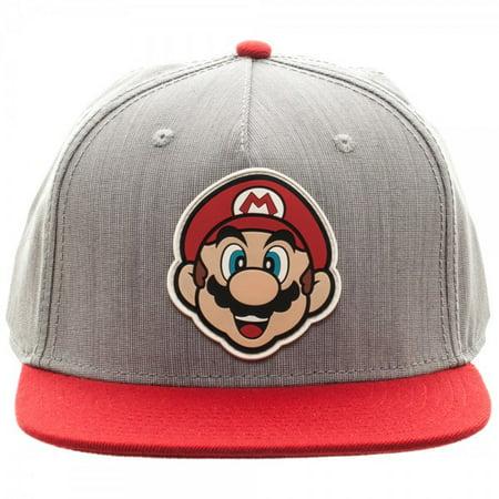 Baseball Cap - Nintendo -Mario Rubber Sonic Weld Gray/Red Snapback Hat sb3fqnsmb - Toad Mario Hat