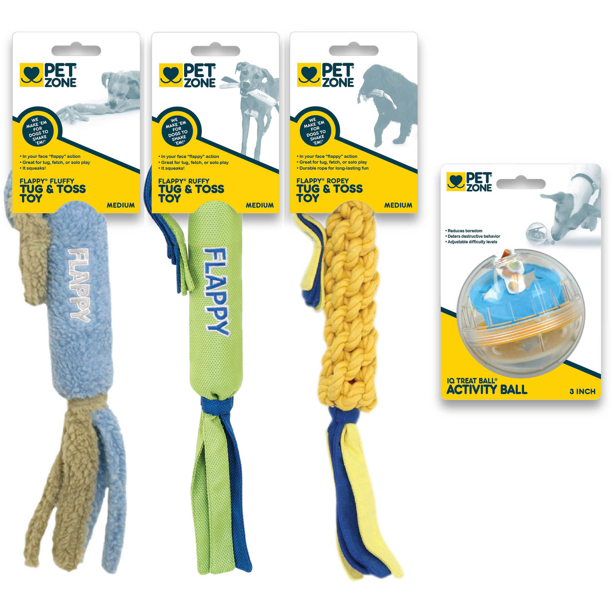 Pet Zone Assorted Dog Toy, 4-Pack
