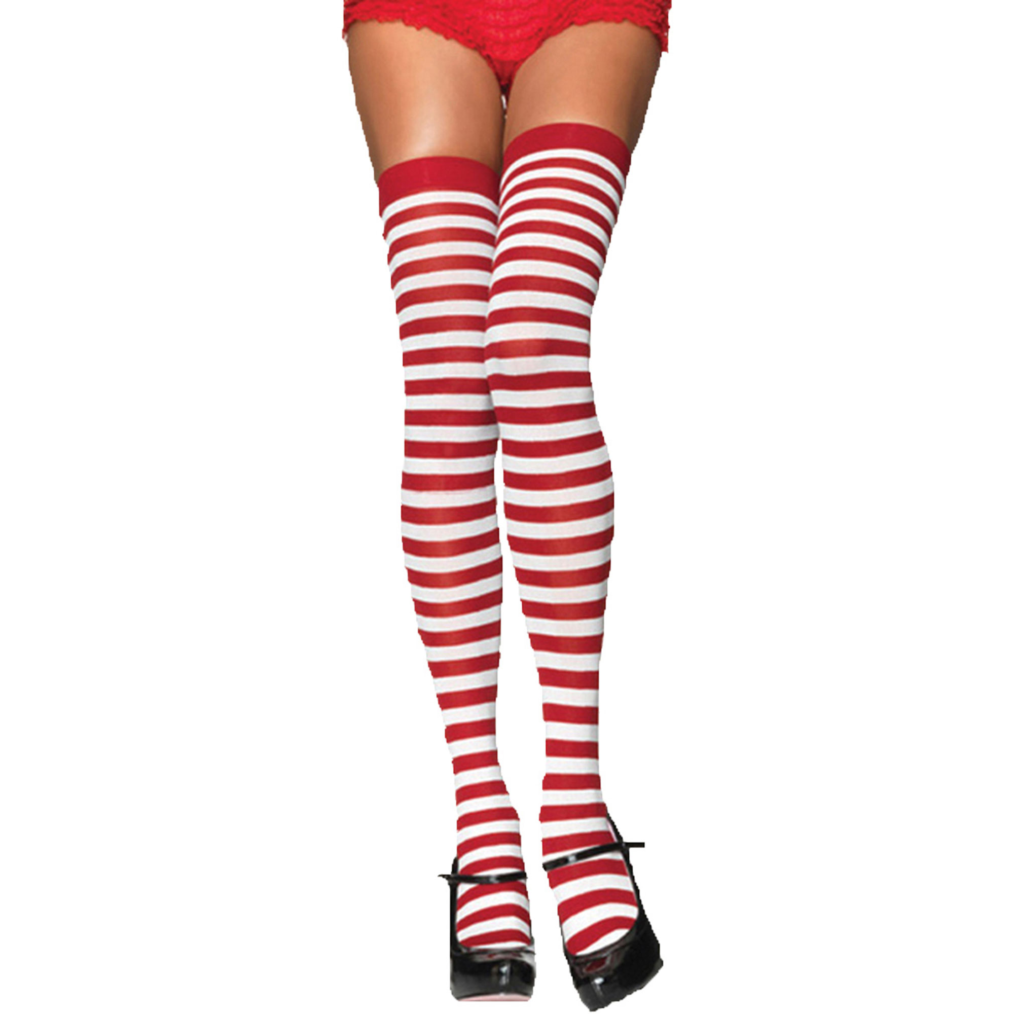 Morris Costume Womens Stocking Striped Thigh High White Red One Size, Style UA6005WRD