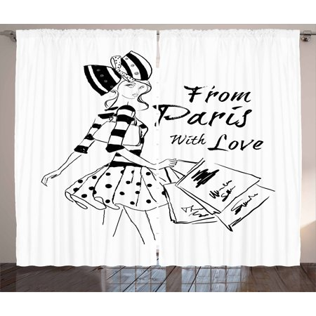 Paris Curtains 2 Panels Set, From Paris with Love Fashion Hand Drawn Girl Figure Shopping Polka Dot Design Skirt, Window Drapes for Living Room Bedroom, 108W X 84L Inches, Black White, by Ambesonne