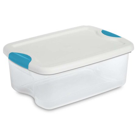 Sterilite 18848012 15-Quart Clear Storage Tote Box w/Latching Container Lid