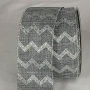 "Silver Glittered Chevron Design Wired Craft Ribbon 2.5"" x 20 yards"
