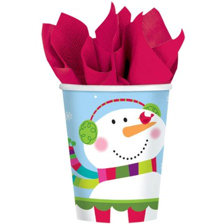 Amscan Joyful Snowman 9 Oz Paper Cups 8 Ct - Snowman Out Of Cups