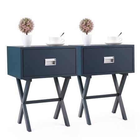 JRFOTOO Bedside Table With a Drawer Bedroom Modern Night Stand Wood End  Side 2PCS Blue