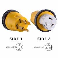 Superior Electric RVA1509L RV Power Cord Adapter 50 amp Male to 50 amp Twist Lock Female Camper Detachable
