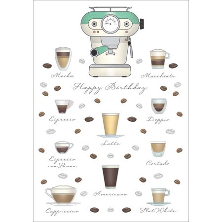 Quire Coffee: Mocha, Latte, Espresso, Cappuccino Birthday Card for