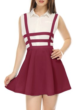 Women's Elastic High Waist A-line Mini Suspender Skirt