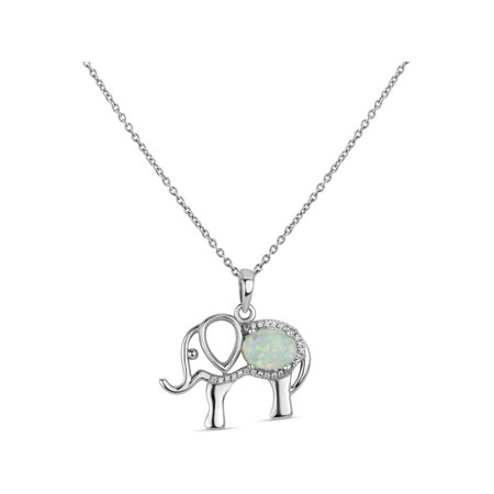 Sterling Silver Rhodium Plated Oval Created Opal And Created White Sapphire Elephant Pendant Necklace 18 Inches