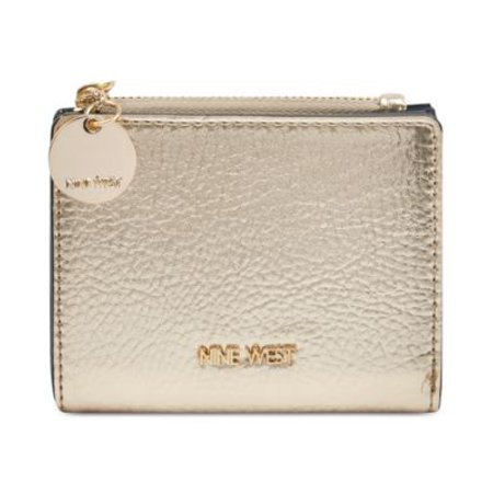 Nine West Mini - Nine West Mini Metallic Gold Card Case Wallet Pebbled Faux Leather Snap