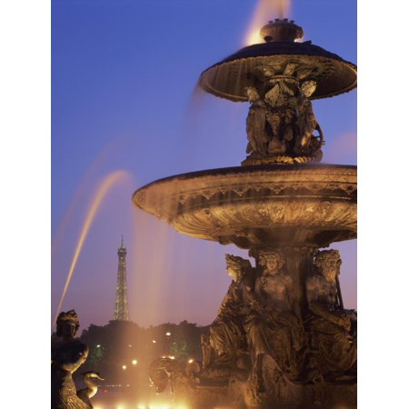 Water Fountain in the Place De La Concorde with the Eiffel Tower Beyond, Paris, France, Europe Print Wall (Water Tower Place Store Hours)