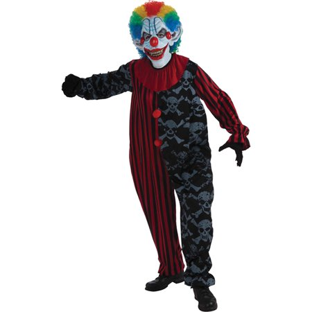 Creepo The Clown Costume Halloween Adult One Size Fits All Jumpsuit, Scary Clown, Style - Scary Clown Jumpsuit