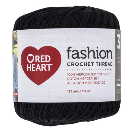 Red Heart Classic Cotton Size 10 Crochet Black Thread 1 Each