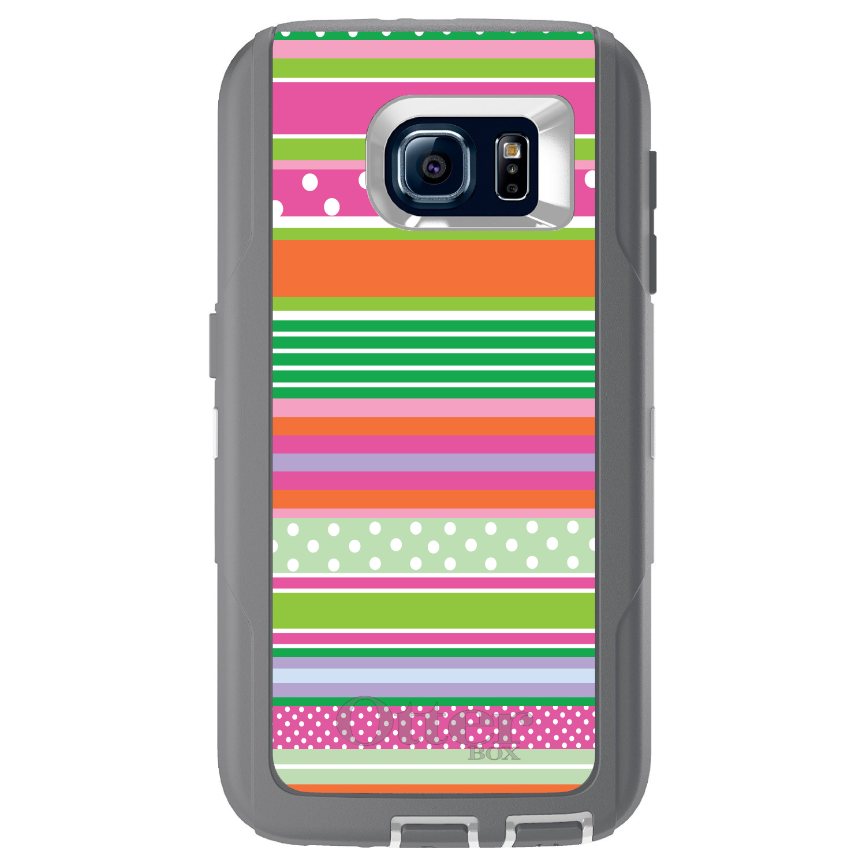 DistinctInk™ Custom Grey OtterBox Defender Series Case for Samsung Galaxy S6 - Green Pink White Stripes Polka Dots