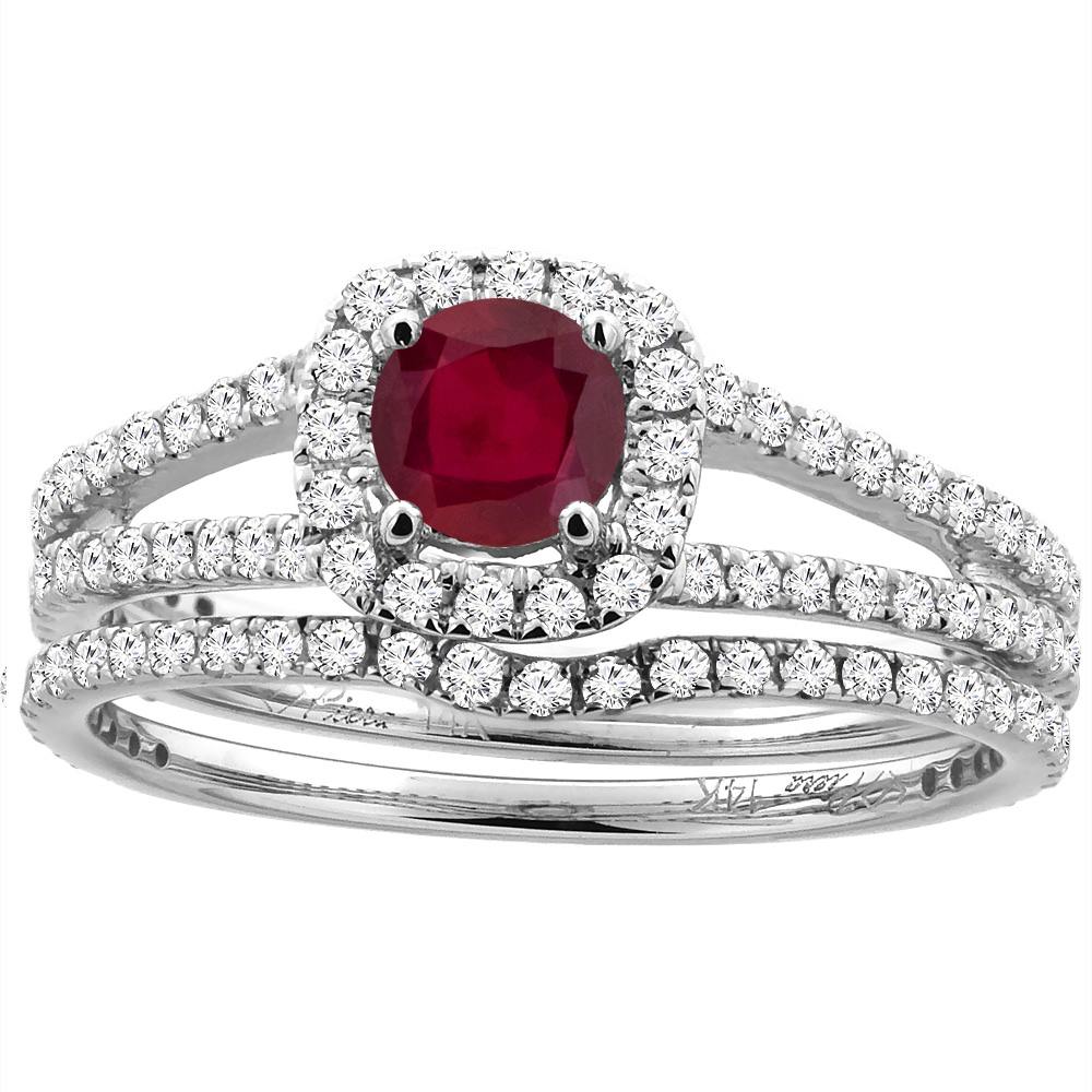 14K White Gold Diamond Halo Enhanced Genuine Ruby 2pc Engagement Ring Set Round 5 mm, size 6 by Gabriella Gold