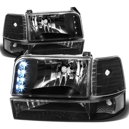 For 1992 to 1996 Ford F150 / F250 / F350 / Bronco 6Pcs LED DRL Headlight+Corner / Side Marker Lamps Black / Clear 5 Gen 93 94 95