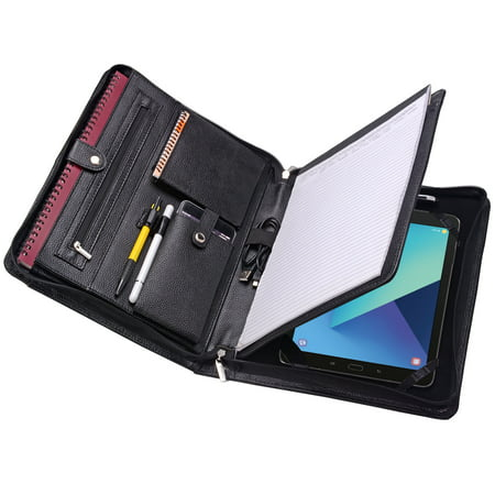 Leather Zippered Padfolio Case for Samsung Galaxy TabPro S 12, A4 Notepad
