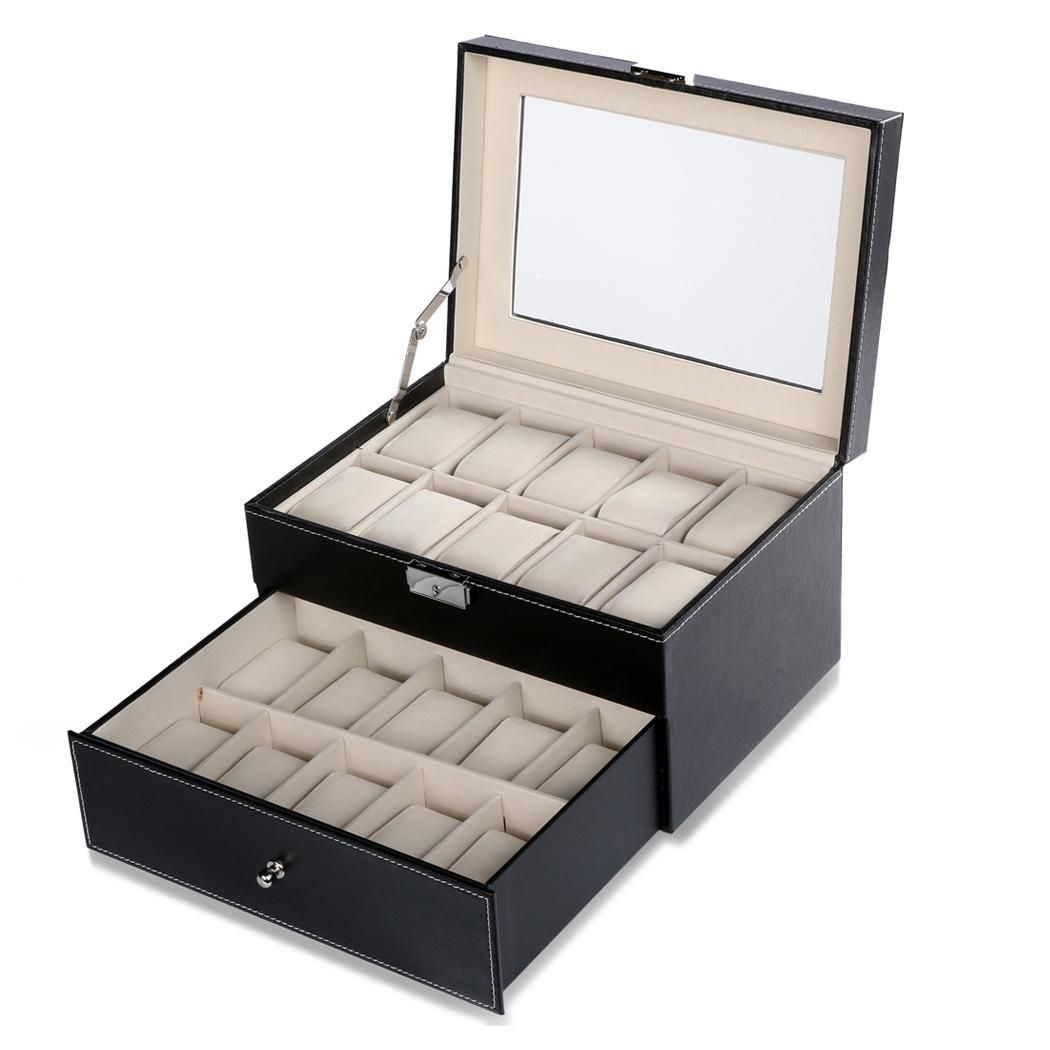 20 Grids Slots Synthetic Leather Jewelry Watch Display Case Box Storage Holder Organizer