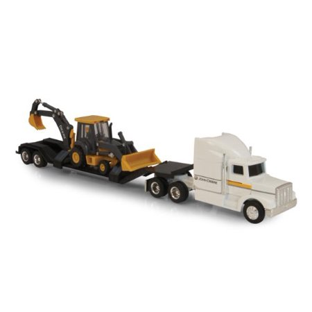 Ertl John Deere Semi with Backhoe Diecast Loader, - Ertl Vintage Vehicles