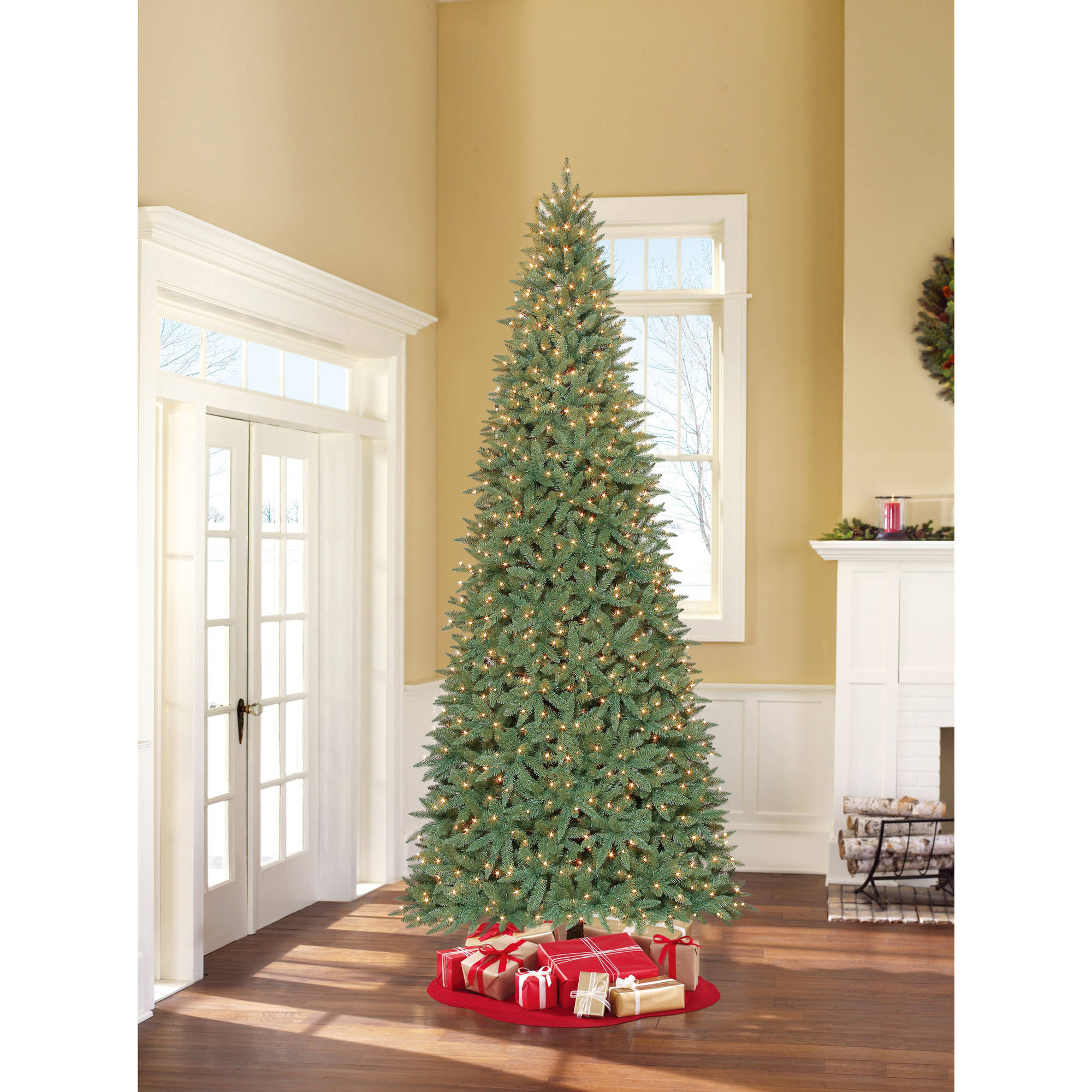 holiday time artificial christmas trees pre lit 75 flocked artificial tree clear lights walmartcom - 75 Ft Slim Christmas Tree