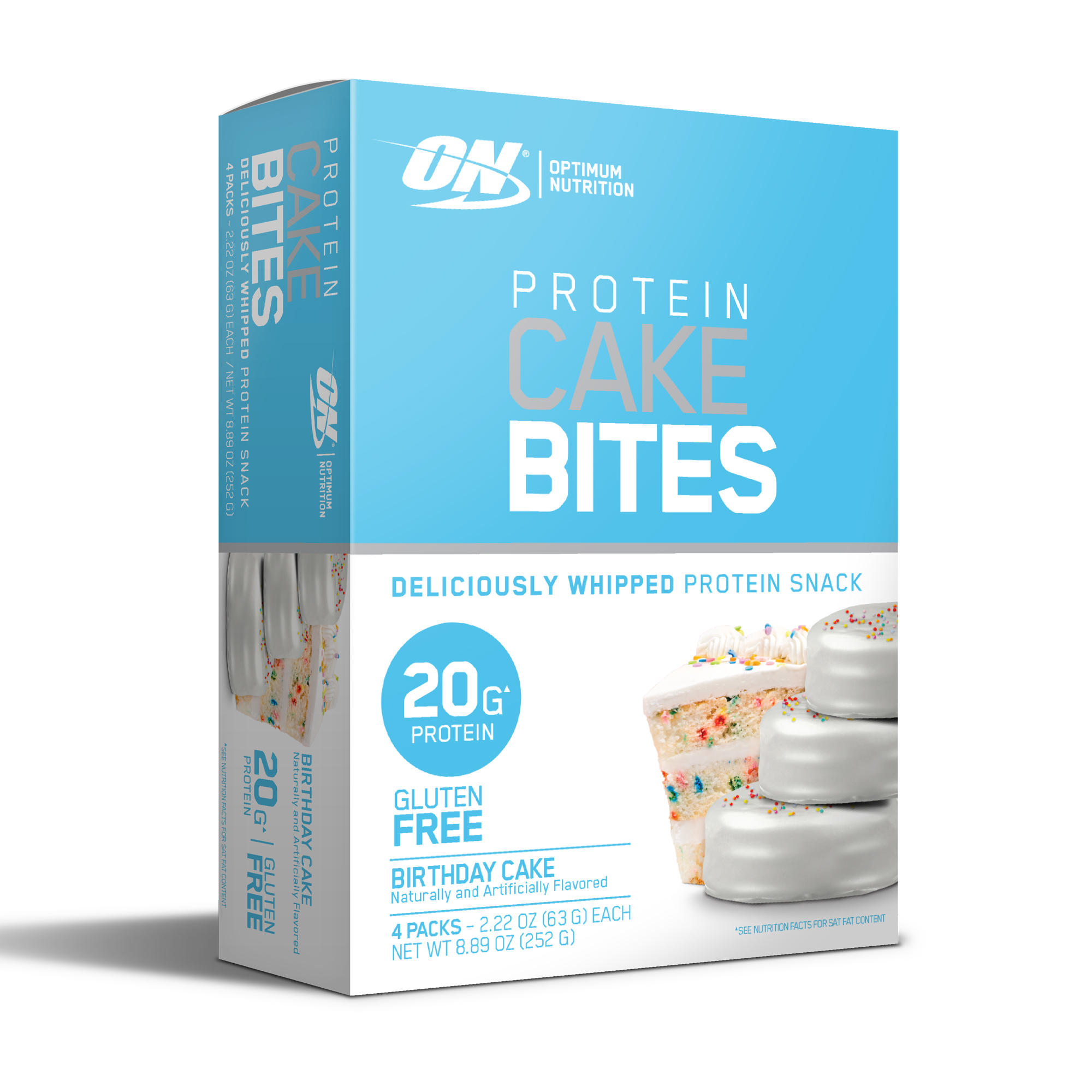 Optimum Nutrition Protein Cake Bites, Birthday Cake, 20g Protein, 4 Count