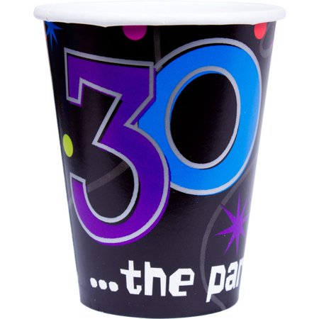 The Party Continues 30th Birthday 9oz Cups - Party Supplies](30th Birthday Cups)