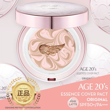 - Age 20's Compact Foundation Premium Makeup, Case + 1 Refill - Pink Latte Essence Cover Pact SPF50+ (Made in Korea) - Pink/Nude Beige (Color 21)