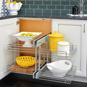 Rev-A-Shelf Blind Corner Cabinet Pull-Out Chrome 2-Tier Basket Organizer