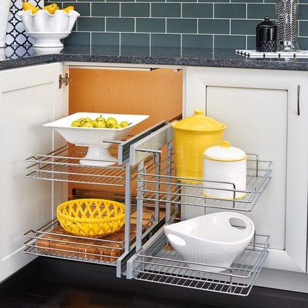 Rev-A-Shelf Blind Corner Cabinet Pull-Out Chrome 2-Tier Basket Organizer
