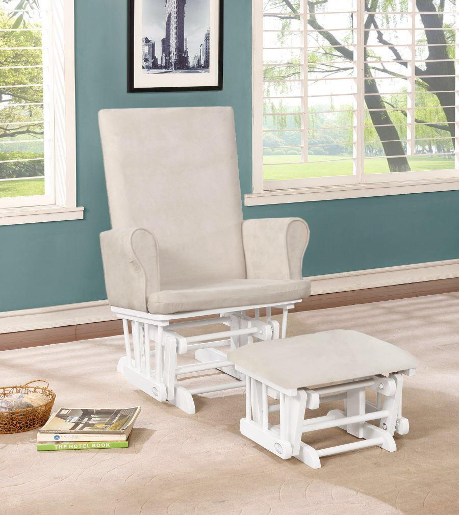 Naomi Home Mateo Wood & Upholstered Glider and Ottoman Set-Cushion Color:Rose,Finish:White