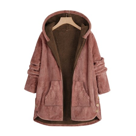 Women's Plus Size Long Sleeve Cardigan Zip Warm Hooded Casual Plain Overcoat Sleeve Zip Cardigan