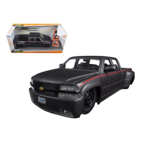 "1999 Chevrolet Silverado Dooley Pickup Truck Matt Grey Just Trucks"" with Extra Wheels 1/24 Diecast Model by Jada """
