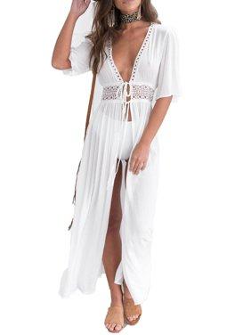 Women Summer Lace Crochet Bikini Cover Up Swimwear Bathing Suit Beach Dress Tops