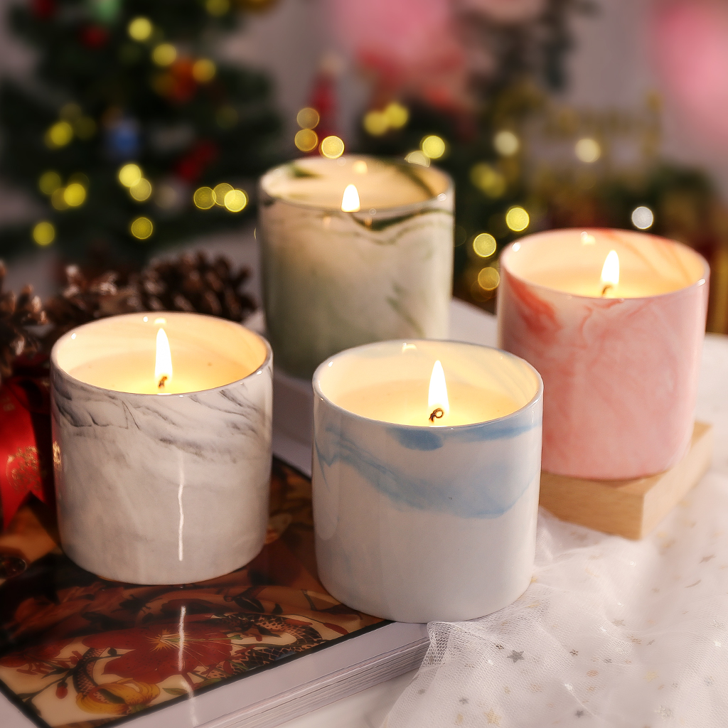Christmas Gift Scented Candle Set In Marbled Ceramic Cup 7 4 Oz Natural Soy Wax Candles Fragrance Xmas Gifts For Bath Yoga Aromatherapy Vanilla Rose Lavender White Gardenia 4 Pcs Walmart Com