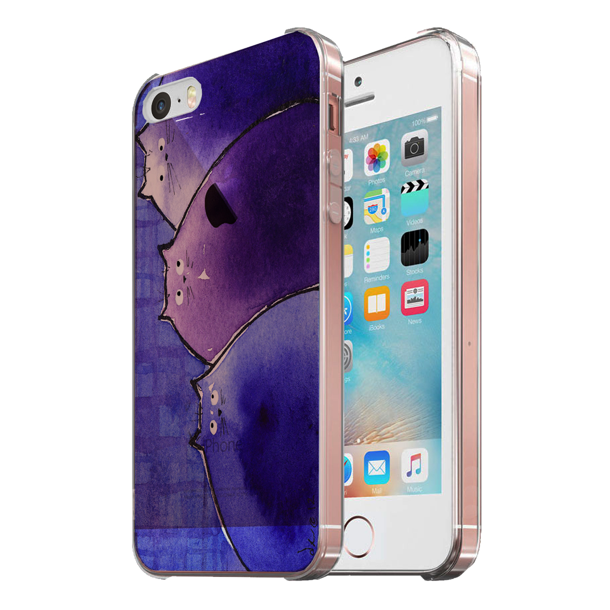 KuzmarK Clear Cover Case fits iPhone SE & iPhone 5 - Blue and Purple Chunky Kitties Abstract Cat Art by Denise Every