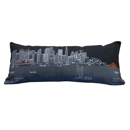 Beyond Cushions San Francisco Night Skyline Queen Size Embroidered Accent Pillow](Accents Beyond)