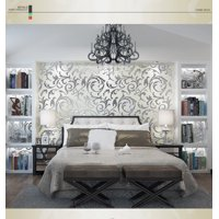 1x10M Luxury Silver 3D Damask Embossed Wallpaper Rolls Home Art Decor