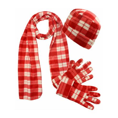 Red Plaid Fleece 3 Piece Hat Scarf & Glove Matching Set ()