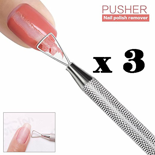3pcs Cuticle Pusher Stainless Steel Triangle Cuticle Peeler Scraper Remove Gel Nail Polish Nail Art Remover Tool