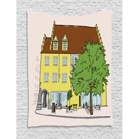 German Tapestry, Sketch of Old Building in Lindau Germany Colorful Illustration Bavarian Architecture, Wall Hanging for Bedroom Living Room Dorm Decor, 40W X 60L Inches, Multicolor, by Ambesonne