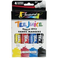 Jacquard Tee Juice Fabric Marker 4-Color Set, Broad Tips, Classic Colors