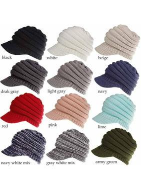 Multitrust Women Stretch Knit Hat Messy Bun Ponytail Beanie Winter Warm Knitted Hole Cap
