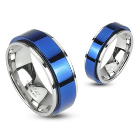 Spinning Center Blue IP 316L Stainless 8mm Double Layered Ring (SIZE: (Steel Spinning Ring)