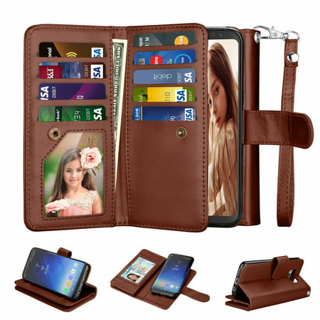 Card Case Credit Card - Samsung S8 Case, Galaxy S8 Wallet Case, Galaxy S8 Pu Leather Case, Njjex Pu Leather Magnet Stand Wallet Credit Card Holder Flip Case Cover Built-in 9 Card Slots Case For Samsung Galaxy S8 -Brown