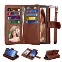 Samsung S8 Case, Galaxy S8 Wallet Case, Galaxy S8 Pu Leather Case, Njjex Pu Leather Magnet Stand Wallet Credit Card Holder Flip Case Cover Built-in 9 Card Slots Case For Samsung Galaxy S8 -Brown