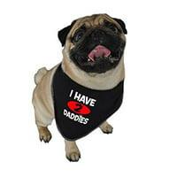ruff ruff and meow doggie bandana, i have 2 daddies, black, medium