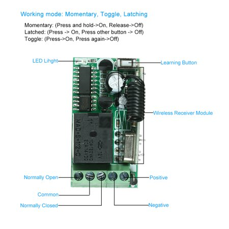 433Mhz DC 12V Universal RF Remote Control Switch Relay Receiver Module Mini 1CH Wireless Control Switch + 5PCS RF 433 Mhz Transmitter Remote Controls For Household Appliances Electronic Lock Control 1 - image 4 of 7