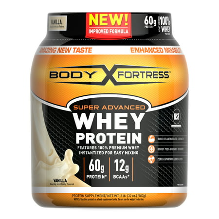 Body Fortress Super Advanced Whey Protein Powder, Vanilla, 60g Protein, 2lb,
