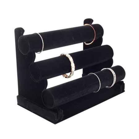 Black Jewelry Holder Display (Plixio Bracelet Holder and Jewelry Stand-- Velvet Three Tier Display and Organizer Rack for Bracelets, Necklaces,)